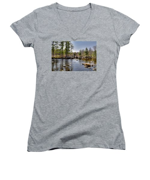 Women's V-Neck T-Shirt (Junior Cut) featuring the photograph Spring Near Moose River Road by David Patterson