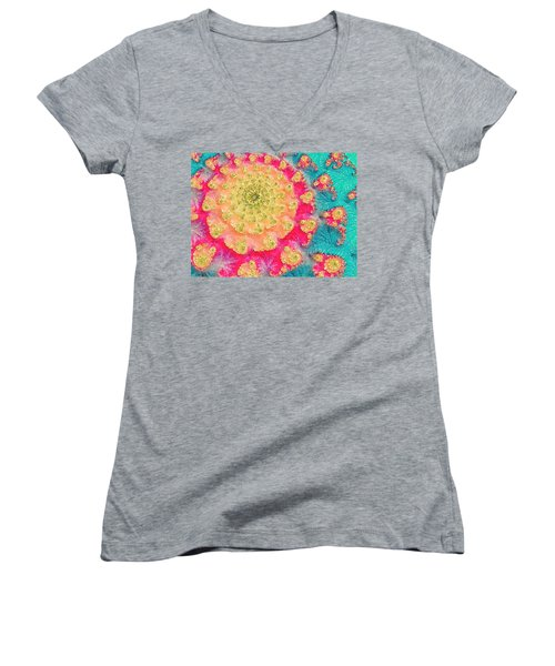 Women's V-Neck T-Shirt (Junior Cut) featuring the digital art Spring On Parade 2 by Bonnie Bruno
