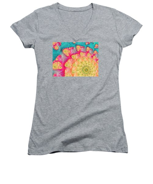 Women's V-Neck T-Shirt (Junior Cut) featuring the digital art Spring On Parade by Bonnie Bruno