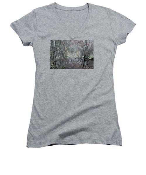 Spring On The Backwater Women's V-Neck T-Shirt (Junior Cut) by John Selmer Sr
