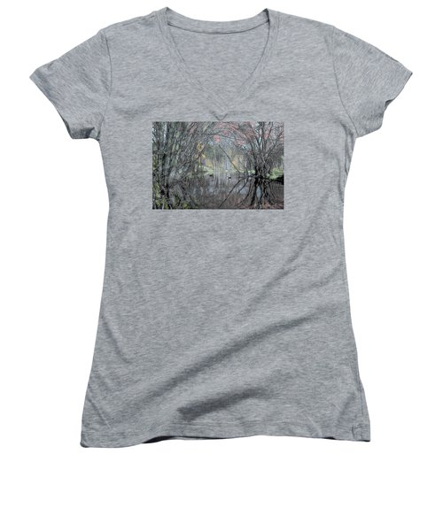 Women's V-Neck T-Shirt (Junior Cut) featuring the digital art Spring On The Backwater by John Selmer Sr