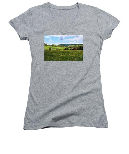 Spring Pastureland Women's V-Neck T-Shirt