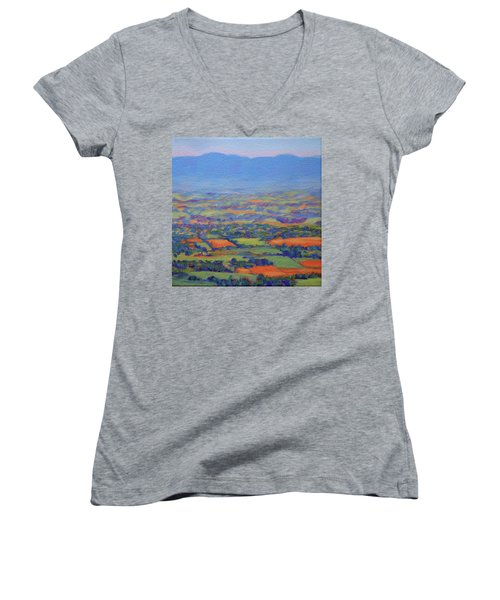Spring Patchwork 3 Women's V-Neck T-Shirt