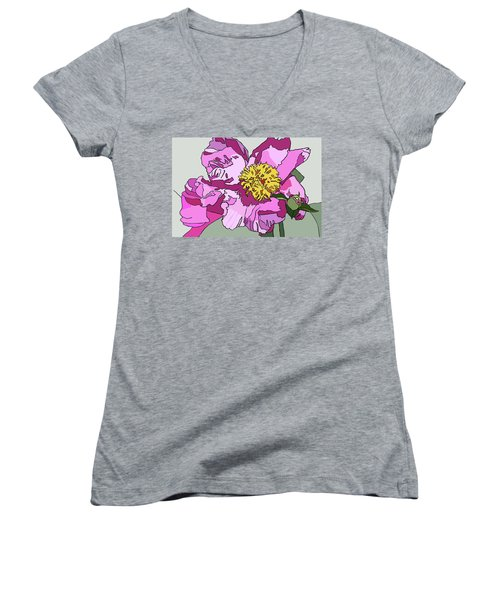 Spring Pink Women's V-Neck T-Shirt (Junior Cut) by Jamie Downs