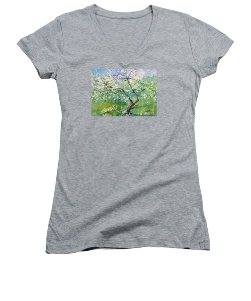 Women's V-Neck T-Shirt (Junior Cut) featuring the painting Spring Plum by Elizabeth Carr