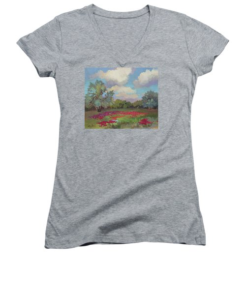 Women's V-Neck T-Shirt (Junior Cut) featuring the painting Spring Poppies by Diane McClary
