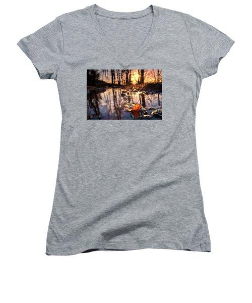 Spring Puddles Women's V-Neck T-Shirt (Junior Cut) by Craig Szymanski