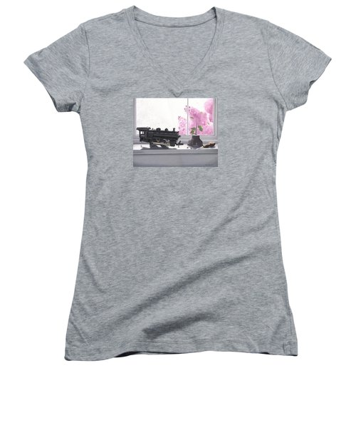 Women's V-Neck T-Shirt (Junior Cut) featuring the painting Spring Rain  Electric Train by Gary Giacomelli