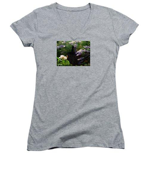 Spring Rain Women's V-Neck T-Shirt (Junior Cut) by Marika Evanson