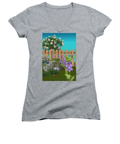 Women's V-Neck T-Shirt (Junior Cut) featuring the digital art Spring Scene by Mary Machare
