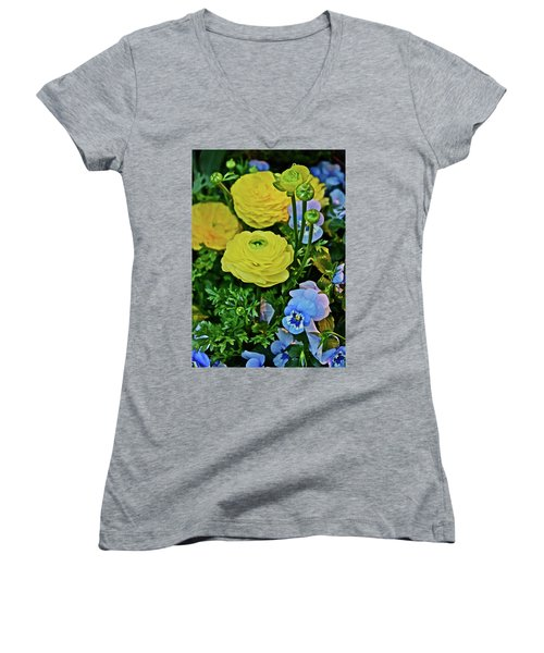 Spring Show 18 Persian Buttercup With Horned Viola Women's V-Neck