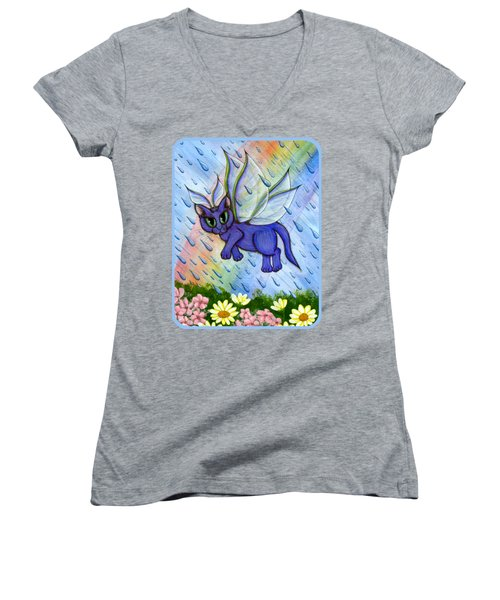 Spring Showers Fairy Cat Women's V-Neck T-Shirt