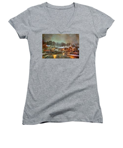 Spring Snow In Peterborough Nh Women's V-Neck T-Shirt
