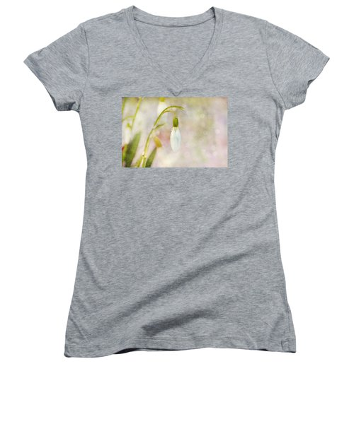 Women's V-Neck T-Shirt (Junior Cut) featuring the photograph Spring Snowdrops And Bokeh by Peggy Collins