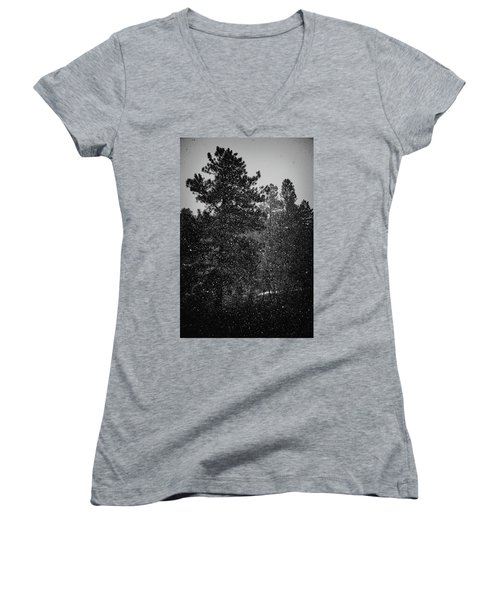Spring Snowstorm Women's V-Neck T-Shirt (Junior Cut) by Jason Coward
