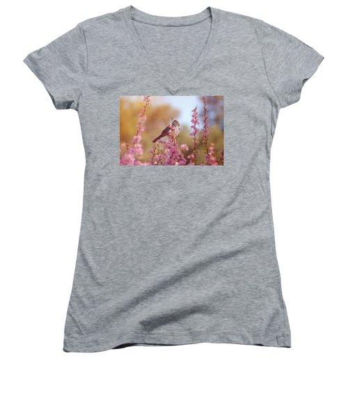 Women's V-Neck T-Shirt (Junior Cut) featuring the photograph Spring Sparrow by Lynn Bauer