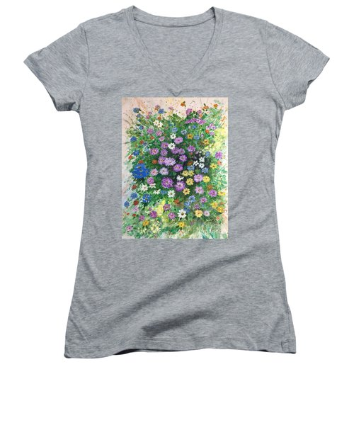 Spring Splendor Women's V-Neck T-Shirt (Junior Cut) by Lucia Grilletto