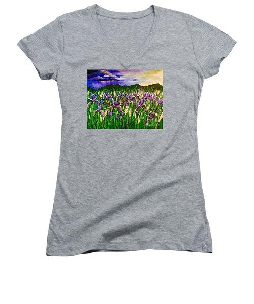 Spring Storm  Iris Fields Women's V-Neck