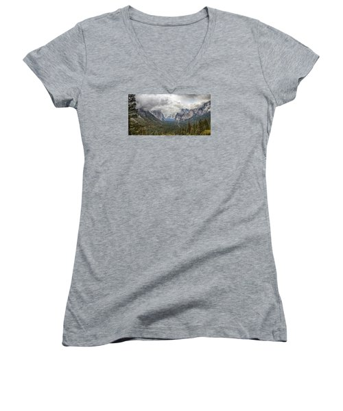 Women's V-Neck T-Shirt (Junior Cut) featuring the photograph Spring Storm Yosemite by Harold Rau