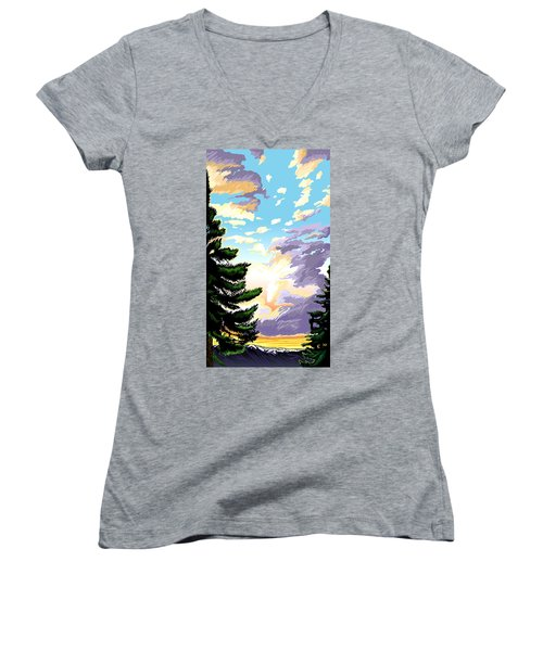 Spring Sunrise 01 Women's V-Neck (Athletic Fit)