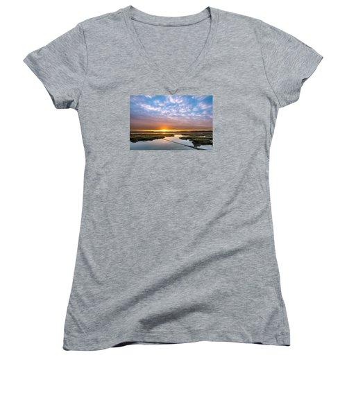 Spring Sunrise On Arcata Bay Women's V-Neck T-Shirt