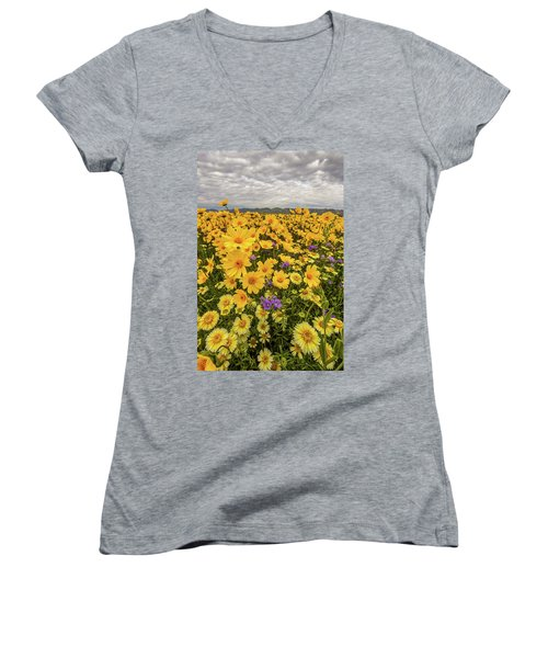 Women's V-Neck T-Shirt (Junior Cut) featuring the photograph Spring Super Bloom by Peter Tellone