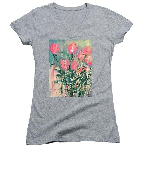 Spring Tulips Women's V-Neck