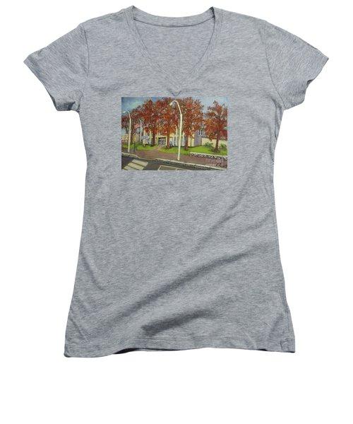 Springtime At Waltham Police Station Women's V-Neck T-Shirt (Junior Cut) by Rita Brown