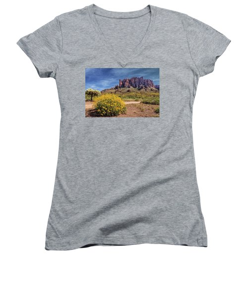 Springtime In The Superstition Mountains Women's V-Neck T-Shirt (Junior Cut) by James Eddy