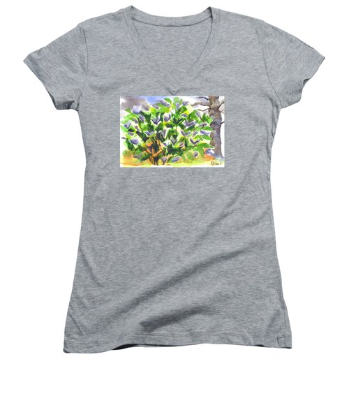 Women's V-Neck T-Shirt (Junior Cut) featuring the painting Springtime Lilac Abstraction by Kip DeVore