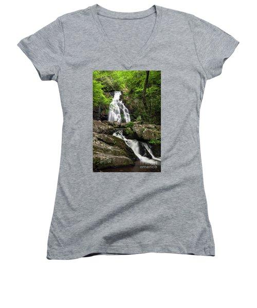 Women's V-Neck T-Shirt (Junior Cut) featuring the photograph Spruce Flats Falls - D009919 by Daniel Dempster