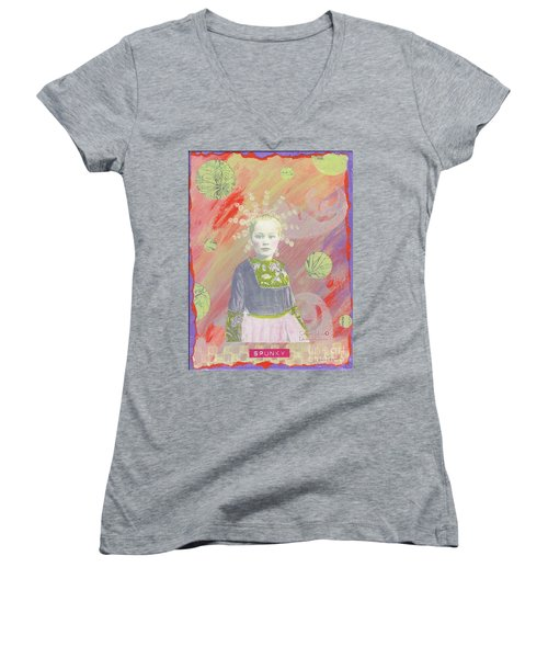 Women's V-Neck T-Shirt (Junior Cut) featuring the mixed media Spunky Got Funky by Desiree Paquette