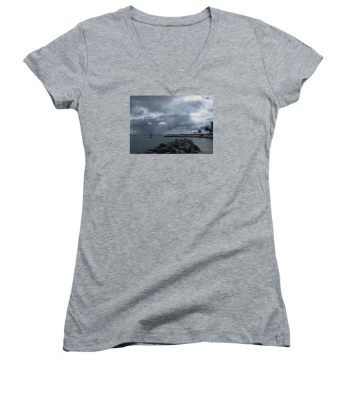 Squall In Simpson Bay St Maarten Women's V-Neck T-Shirt (Junior Cut) by Christopher Kirby
