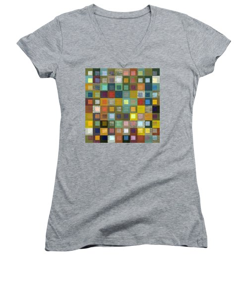 Women's V-Neck T-Shirt (Junior Cut) featuring the digital art Squares In Squares Five by Michelle Calkins