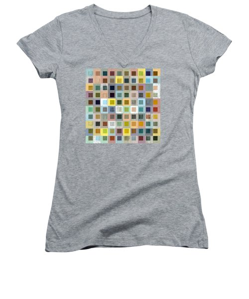 Squares In Squares Three Women's V-Neck T-Shirt (Junior Cut) by Michelle Calkins