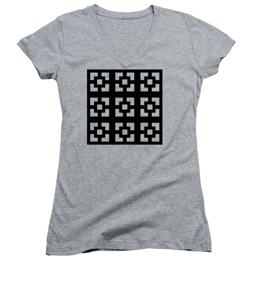 Squares Multiview Women's V-Neck T-Shirt (Junior Cut) by Chuck Staley