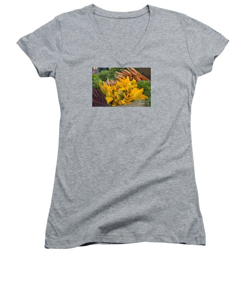 Women's V-Neck T-Shirt (Junior Cut) featuring the photograph Squash Blossoms by Jeanette French