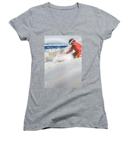 Women's V-Neck T-Shirt (Junior Cut) featuring the painting Beaver Creak by Ed Heaton