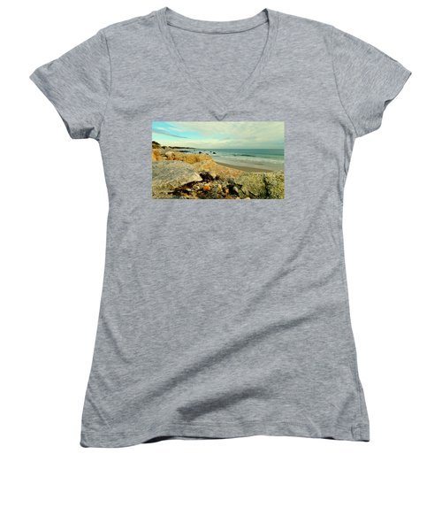 Squibby Cliffs And Mackerel Sky Women's V-Neck (Athletic Fit)