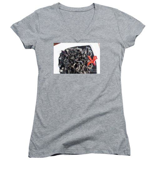 Women's V-Neck T-Shirt (Junior Cut) featuring the photograph Squid In Ink by Atiketta Sangasaeng