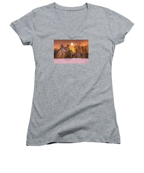 Squires Castle In The Winter Women's V-Neck T-Shirt (Junior Cut) by Brent Durken