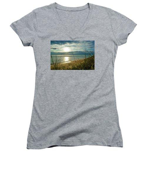 St Aug Sunrise Women's V-Neck T-Shirt (Junior Cut) by Josy Cue