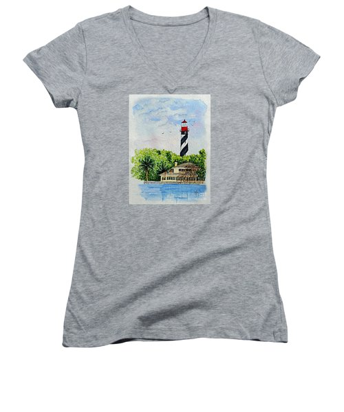 Women's V-Neck T-Shirt (Junior Cut) featuring the painting St Augustine Lighthouse  by Terri Mills