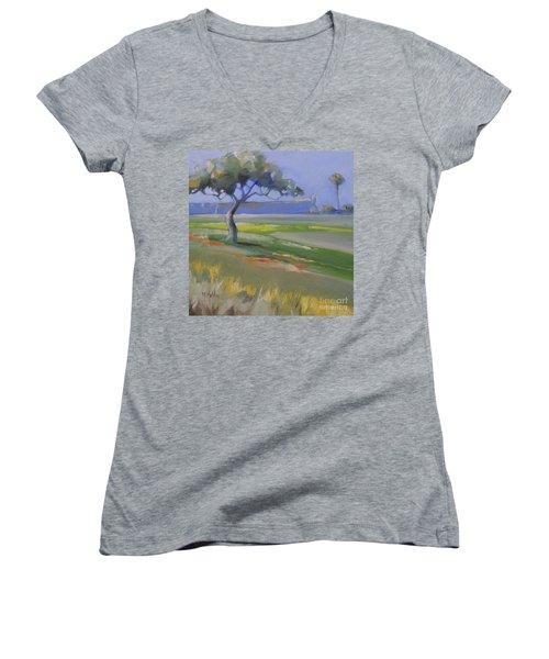 St. Augustine Spanish Castillo Women's V-Neck T-Shirt (Junior Cut) by Mary Hubley