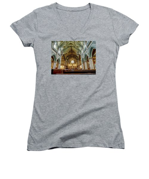 St Dunstan's Cathedral  Women's V-Neck (Athletic Fit)