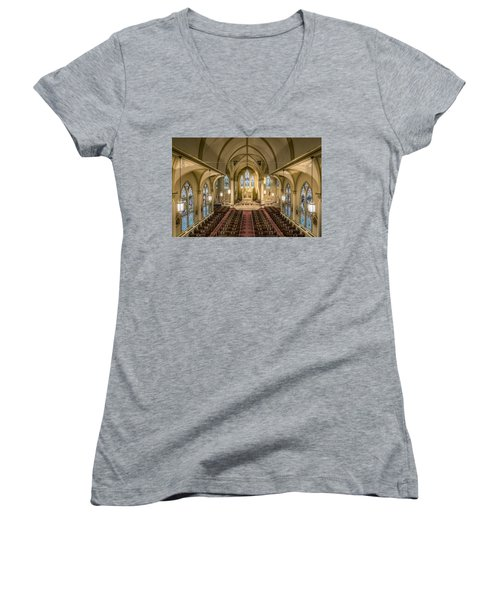 St. Francis Xavier Cathedral Women's V-Neck T-Shirt (Junior Cut) by Andy Crawford