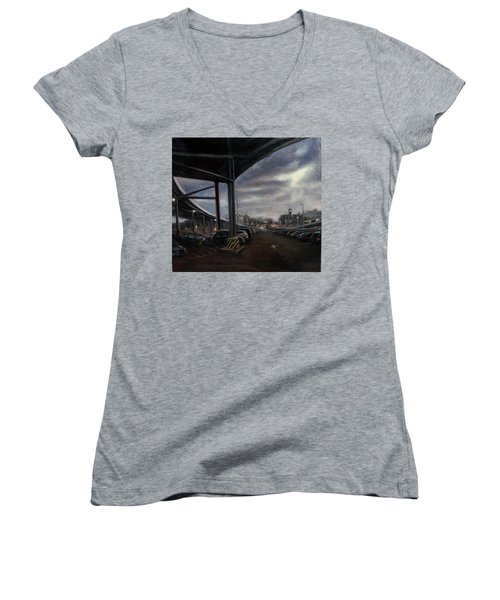 St. George From The Staten Island Ferry Terminal Women's V-Neck (Athletic Fit)