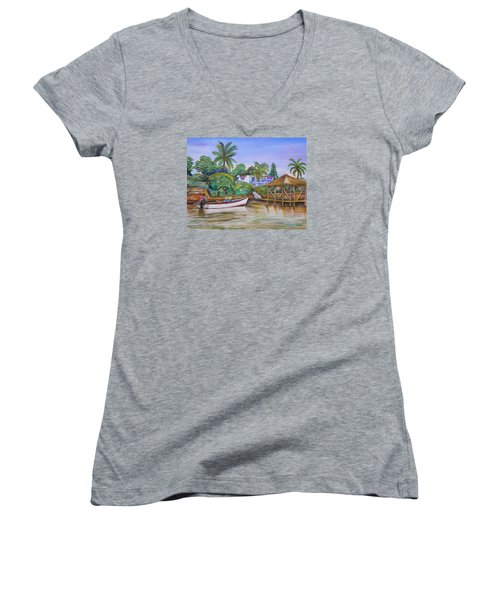 St. George Harbor Women's V-Neck T-Shirt (Junior Cut) by Patricia Piffath