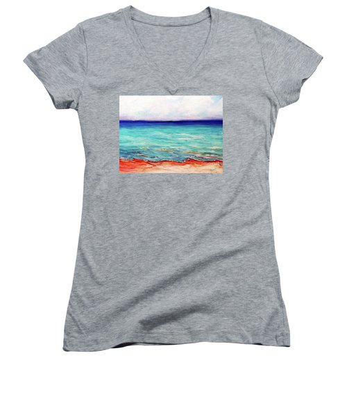 Women's V-Neck T-Shirt (Junior Cut) featuring the painting St. George Island Breeze by Ecinja Art Works