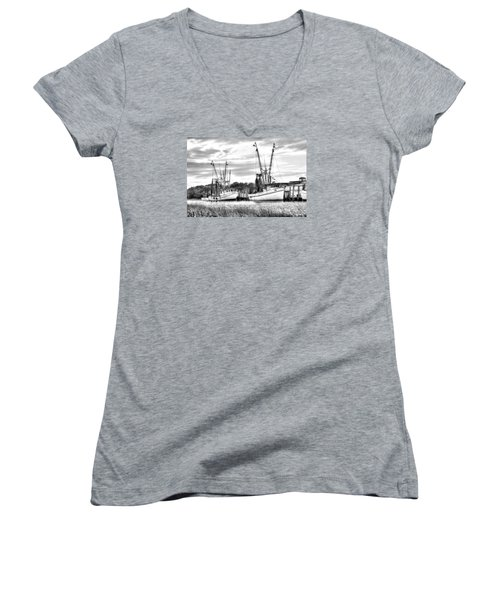 St. Helena Shrimp Boats Women's V-Neck T-Shirt (Junior Cut) by Scott Hansen